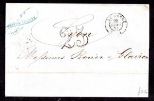 France 1857 cover 25c paid Le Havre CDS WS11317