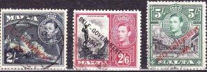 MALTA 1948 KGVI  2/-, 2/6 & 5/- 'Self GovernmentSG245-247 FU