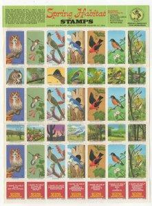 USA National Wildlife Federation Spring Habitat Stamps 1970 Sheet of 42 MNH