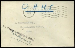 Gold Coast WWII 1943 OHMS endorsed to Christiansborg Castle