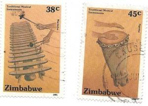 Zimbabwe #640-641 Musical Instrements (U) CV $3.15