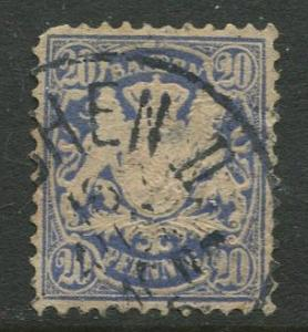 Bavaria -Scott 51 - Coat of Arms -1881 - FU - Single 20pf Stamp