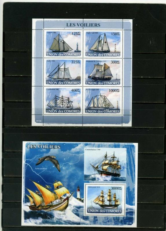 COMOROS 2008 SAILING SHIPS SHEET OF 6 STAMPS & S/S MNH