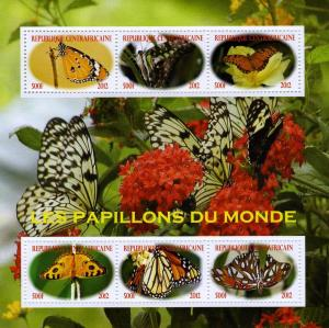 Central African Republic 2012 Butterflies of the World Sheet Perforated mnh.vf