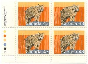 Canada - 1988 43c Lynx Imprint Blocks mint #1170