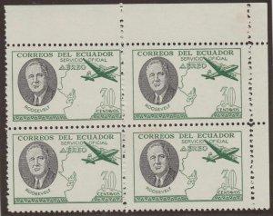 ECUADOR 1949 ROOSEVELT AIR OFFICIAL Bts O217A CRN MGNL BLOCKx4 + PLATE FLAW MNH