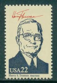 2219f 22c Harry S. Truman MNH Fine W3183