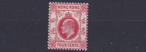 HONG KONG  1907 - 11   SG 93  4C  CARMINE RED    MH