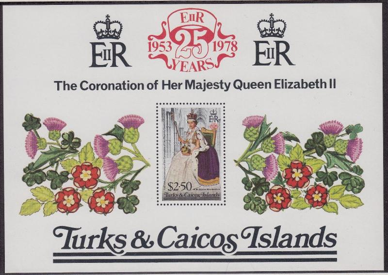 TURKS & CAICOS ISLANDS MNH Scott # 348 QEII Silver Jubilee (1 Sheet) (2)