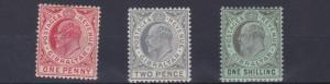 GIBRALTAR  1906 - 11        SG  67 + 68 + 71   VALUES TO 1/-  MH