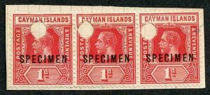 Cayman Is SG42s KGV 1d Red x 3 Opt Specimen and Punched on a piece of ledger