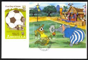 ANGUILLA 1982 DISNEY WORLD CUP SOCCER ESPANA Souvenir Sheet Sc 510 FDC