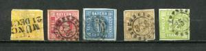 Germany Bavaria Bayern  1850/92 Mi 8-12 Numerical CV 137 euro Used 7124