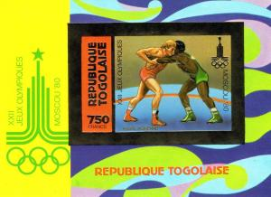 Togo 1981 Moscow'80 XXII Olympic Games SS Gold Imper MiB157B
