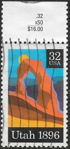 US 3024 Used - Utah State Centenary - Inscription Selvedge