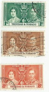 Trinidad & Tobago #47-49 Coronation Issue (U) CV $1.00