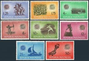 Indonesia 608-615,lightly hinged.Michel 413-420. GANEFO games,Jakarta 1963.Dance