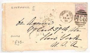 AN58 1878 GB Liverpool to USA New York Cover 2½d rate {samwells-covers}