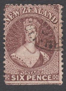NEW ZEALAND 1864-67 6d Ref Brown Chalon perf 12½ SG122 used................29241