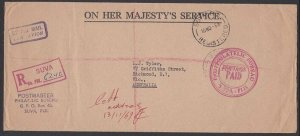 FIJI 1969 Registered OHMS cover Suva to Australia - Postage/Paid............H916