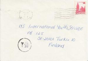 Canada 14c Parliament Buildings c1978 Alliston, Ontario to Turku, Finland.  S...