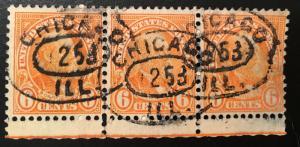 638 1922 Americans Series, 11x10.5 perf., Circ. strip, Vic's Stamp Stash