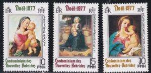 Fr. New Hebrides, #  271-273, Christmas 1977, NH