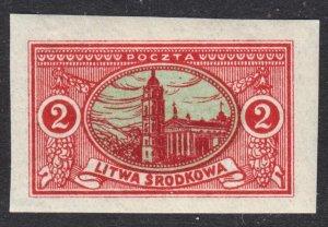 Central Lithuania Scott 36 imperforated VF mint OG NH on pelure paper.