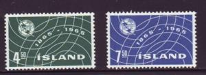 Iceland Sc 370-1 1965 ITU 100 yrs stamps NH