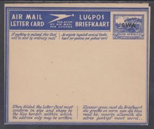 South West Africa H&G I14 var mint 1944 3p Air Mail Letter Card, w/o SWA periods