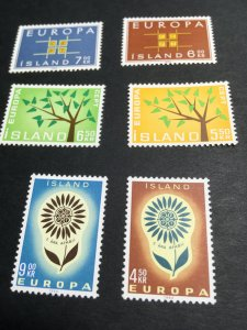 Iceland 1962, 1963 & 1964 Europa Complete Sets. Mint VF -LH #348//368