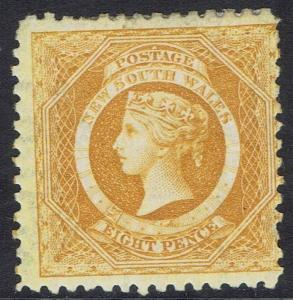 NEW SOUTH WALES 1882 QV DIADEM 8D WMK CROWN/NSW SG W40 PERF 11