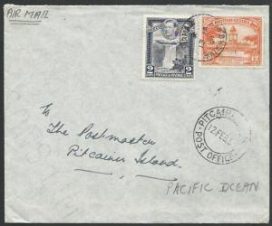 BR GUIANA TO PITCAIRN IS 1954 cover with arrival cds - most unusual........13395