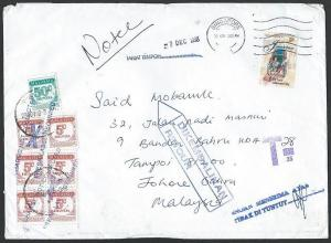 MALAYSIA 1998 cover ex Singapore with postage dues returned to sender......10064