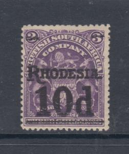 Rhodesia Sc 91a MLH. 1909 10p on 3sh purple violet Coat of Arms, F-VF