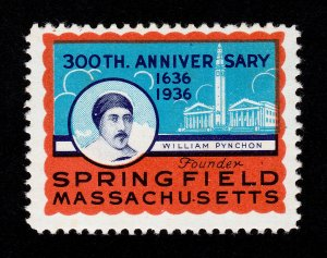 POSTER STAMP 300TH ANNIVERSARY WILLIAM PYNCHON FOUNDER SPRINGFIELD MA 1936