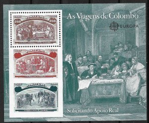 1992 Portugal Sc1920 Columbus Soliciting Aid from Queen Isabella MNH S/S