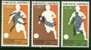MEXICO C565-C567, World Soccer Cup Championship. MINT, NH. F-VF.