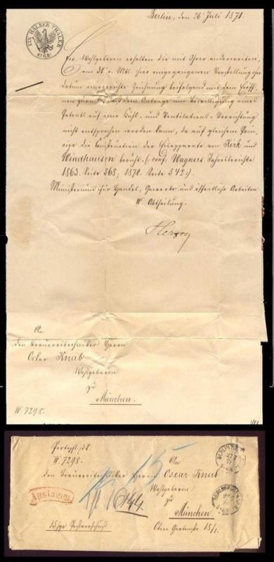 Germany 1871 Revenue Stamped Paper Document