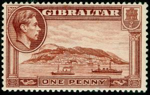 GIBRALTAR SG122b, 1d yellow-brown PERF 13½, LH MINT. WMK SIDEWAYS