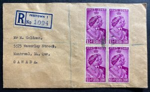 1948 Sierra Leone  First Day cover FDc To Canada King George Silver Weeding B