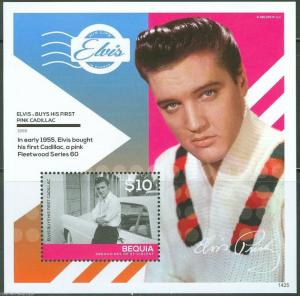 BEQUIA 2014 ELVIS PRESLEY BUYS FIRST PINK CADILLAC  S/S MINT  NH