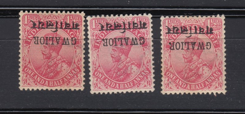 J28362, 3 1923-7 india states gwalior mnh #67a inverted ovpt king scv ??