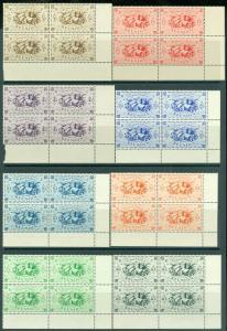 EDW1949SELL : REUNION 1943-45 Scott #224-37, 240-47, C18-24 Cplt sets. Blks of 4