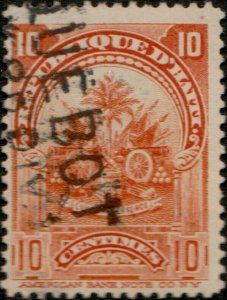 HAÏTI - ca.1900 Mi.54 10c Arms used New York PAQUEBOT cancel (Hosking #950)