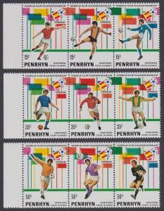 Penrhyn World Football Championship Spain 3 strips with margins 1981 MNH