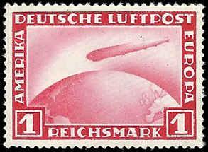 Germany - C35 - MNH - Tiny spot above Zeppelin - SCV-80.00