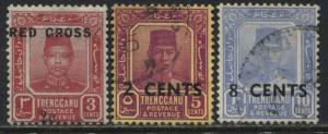Trengganu 1917 overprinted Semi-postal set of 3 used