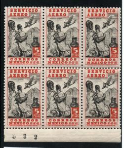 Mexico - Sc# C73 Block of (6) partial plate #  MNH  -  Lot 0419197