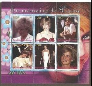 Congo 2007 Memory Princess Diana Royalty Lady Famous People M/S Stamps MNH perf